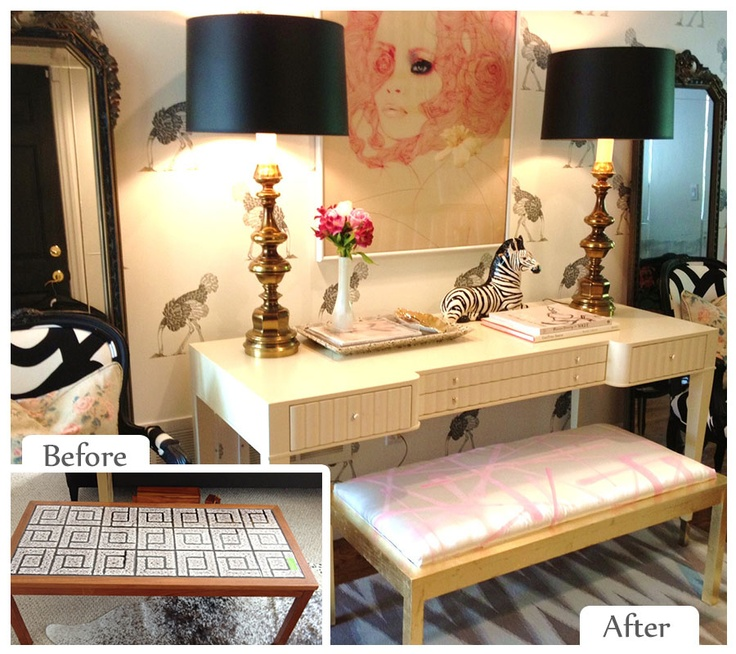 Christine Dovey | Before Item: Coffee Table --- Upcycled Item: Upholstered Bench #ReStore #Makeover #After