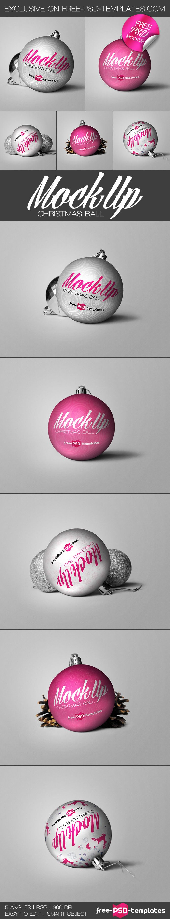 Free Christmas Ball Mockup (145 MB) | free-psd-templates.com | #free #photoshop #mockup