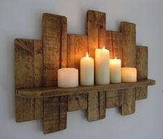 65cm zurückgewonnene Paletten-Holzschwimmregal/geführte Kerzenhalter schäbig schick/Landhausmöbel