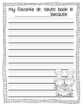 Dr. Seuss journal prompts/stationary