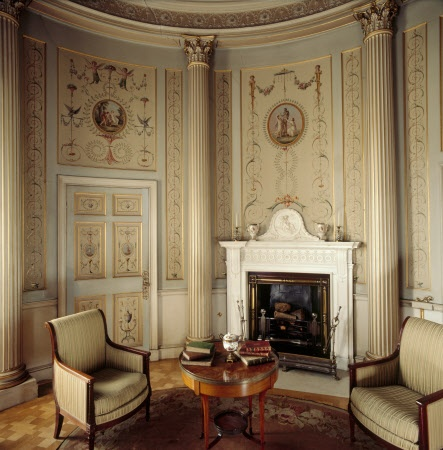 The fireplace in the Boudoir, probably supplied by John Deval the Younger, in 1785 at Attingham Park, Shropshire.