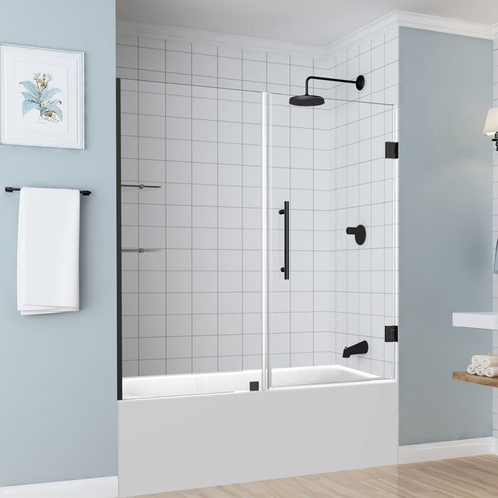 Coraline 60 X 60 Single Sliding Frameless Tub Door Tub Doors Tub Shower Doors Shower Doors