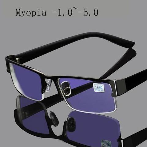 49bc283558 Stainless Myopia Glasses For Computer Men Eyeglasses Half Metal Spectacles  Anti Bluemodlilj