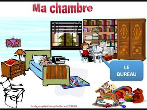 Ma chambre : Vocabulaire. I don't like these strictly vocabulary videos so I think what I'd do is make a book using print-outs of the images the woman is describing, then use the youtube video as kind of an audio book