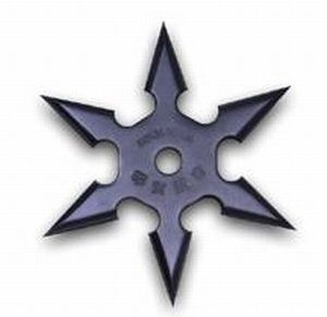 Black Kohga Ninja Throwing Star - 6 Points w/ Etching