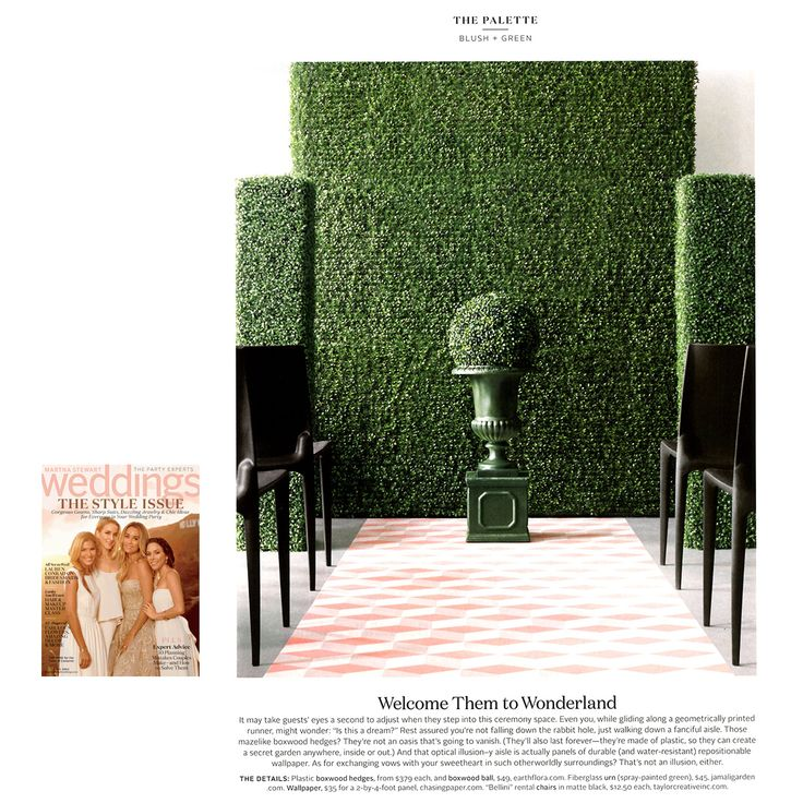 Welcome Them to Wonderland: This wedding ceremony decor includes our 18in Urn, spray-painted green, from the Fall 2014 issue of @MarthaWeddings, surrounded by a mini maze of #boxwood hedges.