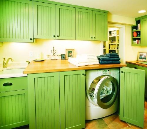 Front Loading Washer U0026 Dryer Hidden Cleanly Behind Bi Folding Doors