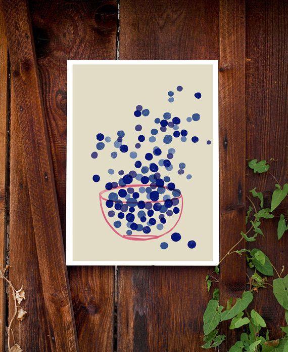 Kitchen Art Print Blueberry Indigo Blue SImple Summer by anek
