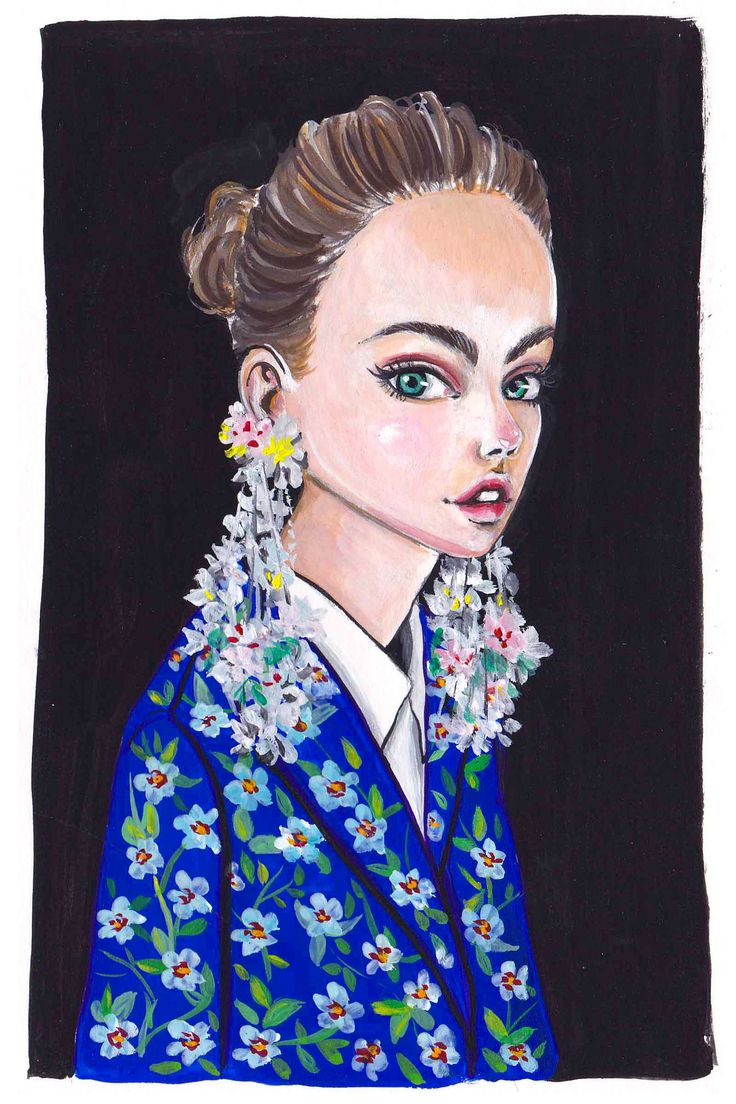 Delpozo SS17 Fashion Illustration by gouache Olivia Au @Olivia Au Illustration #fashionillustration #floralprint #portrait