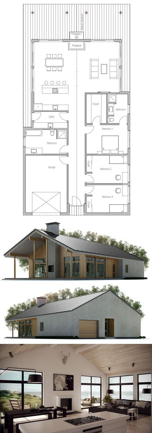 Different elevations - enlarge bedrooms and repurpose garage ........ but basic layout is reworkable and do-able.... Floor Plan