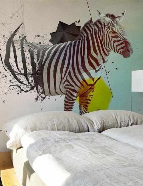 Carta da Parati Zebra Astratta Carta da Parati Fotomurale a Tema Natura con Animali