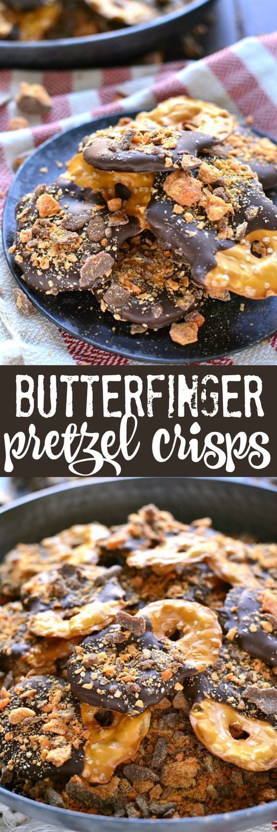 These Butterfinger Pretzel Crisps combine salty pretzel crisps with milk chocolate, a hint of rum extract, and BUTTERFINGERS! You better believe these will become your new favorite snack!: