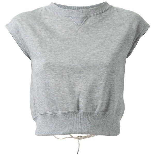 Mihara Yasuhiro Open Back Sweatshirt ($188) ❤ liked on Polyvore featuring tops, hoodies, sweatshirts, grey, cotton crop top, grey crop top, grey top, open back crop top and short sleeve cotton tops