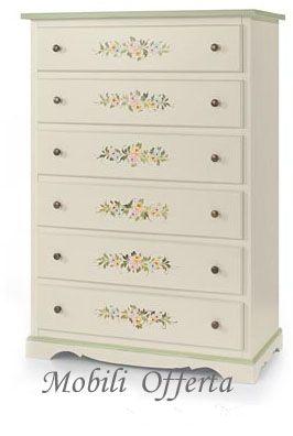 Cassettiera decorata -  - Cassettiera con sei cassetti laccata bianca con decori Misura 97cm x 49cm H140cm