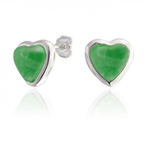 Green Jade Gemstone Heart Stud Earrings 925 Sterling Silver Bezel Set