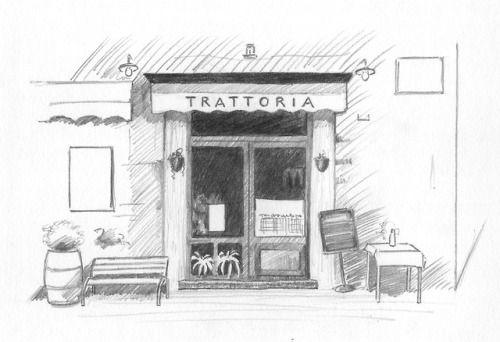 February 21, 2018. Sketching exercise from ArtTutor.com (Phil Davies - Cafe). Pencils.