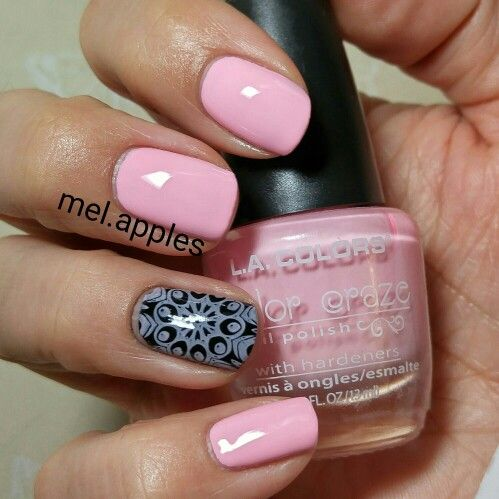 L.A. Colors Color Craze Delicate CNP527 (A). Light pink cream. Three coats. Smooth even formula and application. Shown stamped over black on ring finger.