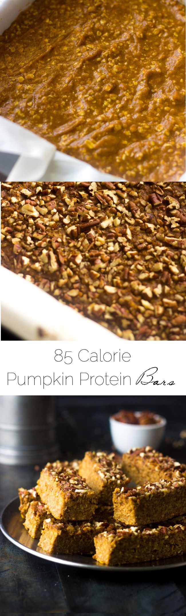 Pumpkin Protein Bars - They taste JUST like pumpkin pie but are easy, gluten free and only 85 calories. Great for on the go breakfasts or snacks! | Foodfaithfitness.com | @FoodFaithFit