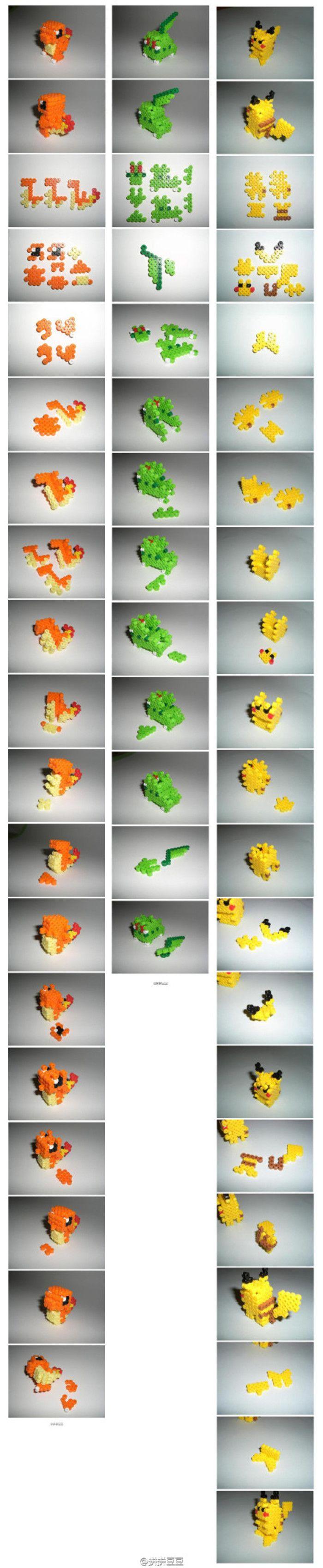 3D Pokemon Perler Bead Characters (Charmander, Chikorita, Pikachu) #Perler