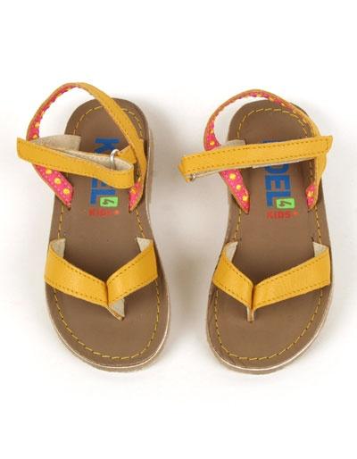 Gele lederen Stijntje sandalen - Koel for Kids
