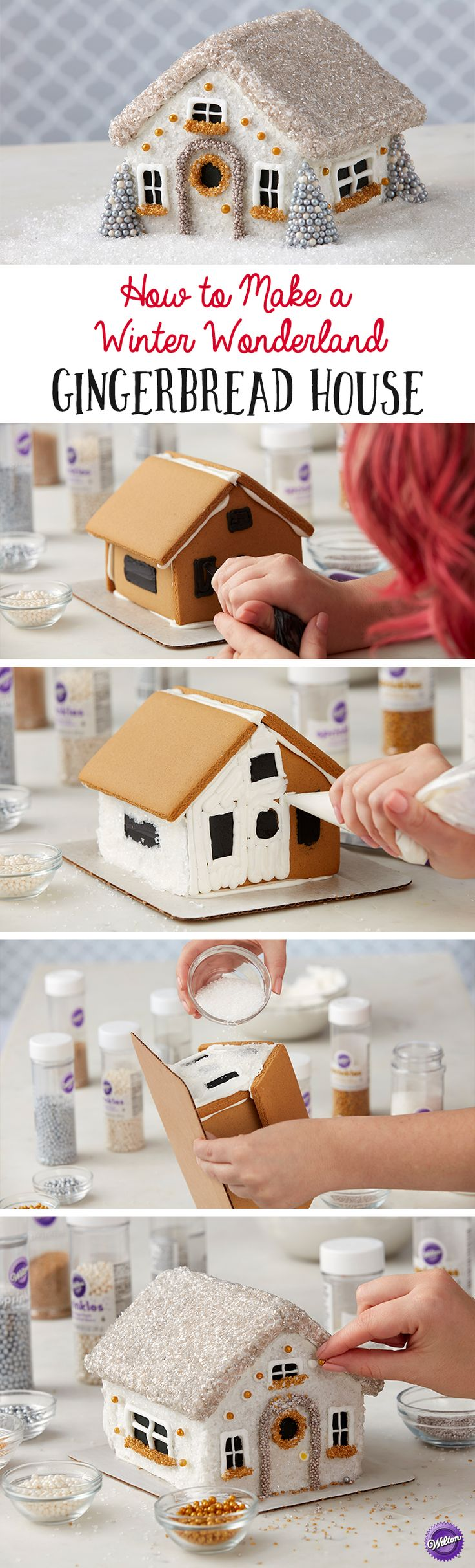 How to Make a Winter Wonderland Gingerbread House - Bring the magic and beauty of winter inside with this whimsical Winter Wonderland Gingerbread House. Decked out with a variety of gold and silver sprinkles and edible accents, this beautiful gingerbread house makes a stunning centerpiece for your holiday table!