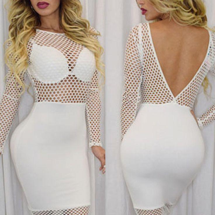 Cheapest Dresses Fishnet Design Long Sleeve Club Dress White