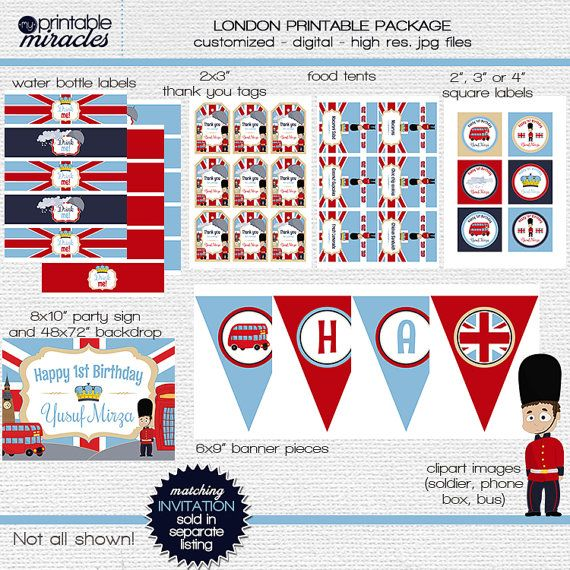 London Theme Birthday Decor Package For Little Boys By
