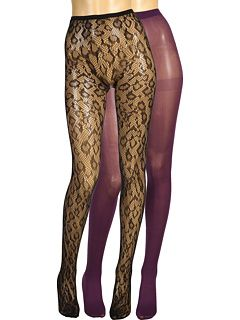 Betsey Johnson 2 Pack Solid/ Leopard Fishnet