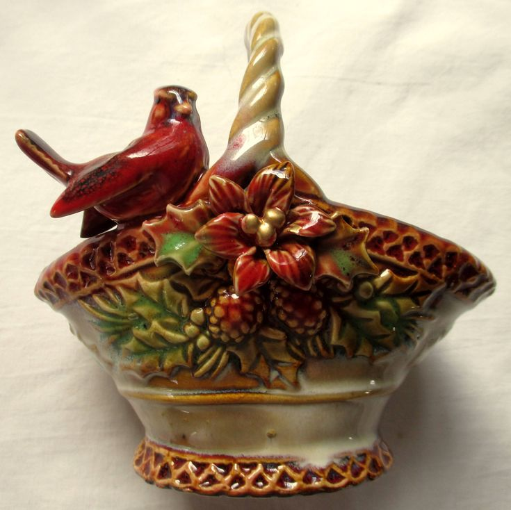 Cardinal Winter Basket,Christmas Cardinal,Cardinal Basket,Christmas Basket,Red Cardinal Basket, Cardinal Candy Dish, Cardinal Condiment Bowl by MyGrandmothersHouse on Etsy