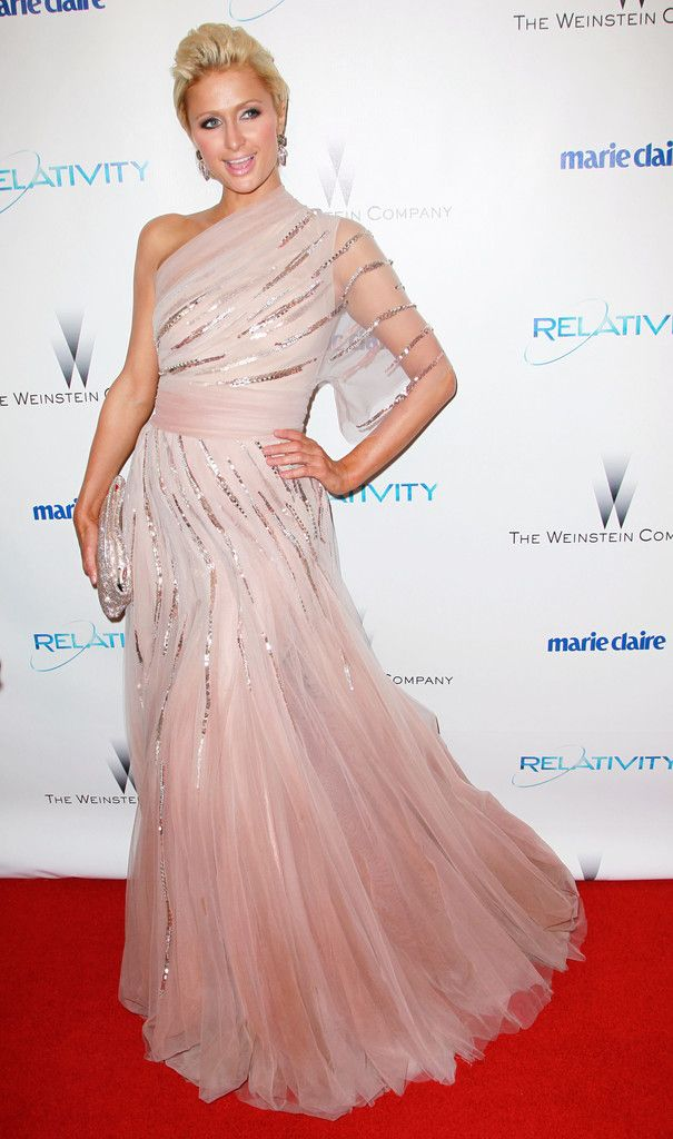 Paris Hilton arrives at The Weinstein Company And Relativity Media's 2011 Golden Globe Awards Party held at The Beverly Hilton hotel on January 16, 2011 in Beverly Hills, California.