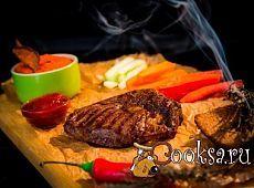 Стейк Рибай с овощами и дипом фото рецепт приготовления