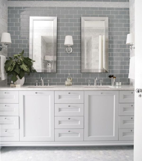Heather Garrett Design - bathrooms - gray subway tile, granite counter top, shaker cabinets, <3 mirror framed mirrors