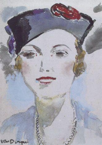 "Kees van Dongen (Dutch, 1877–1968) - ""La Parisienne"" - Watercolor"