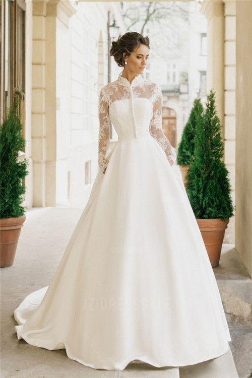 cf0f8e876c0 Ball Gown High Neck Chapel Train Satin Wedding Dress