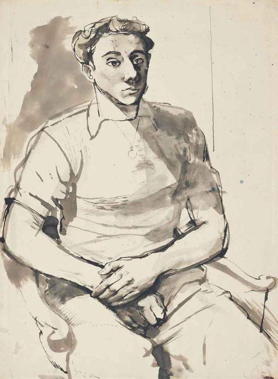 John Minton (English, 1917-1957), Seated Man. Ink and wash, 14 ¾ x 11 in
