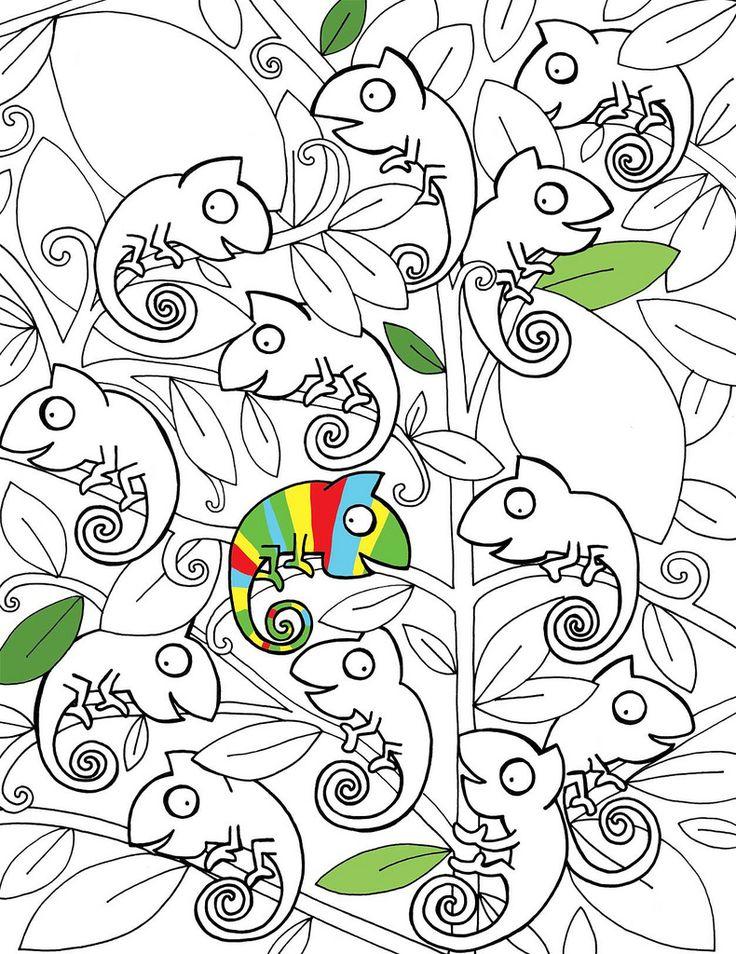 Chameleons For Creative Coloring on Chameleon Coloring Page Chameleons Worksheets And Kindergarten