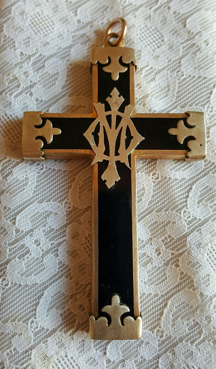Large Antique Mourning Cross Pendant Jewelry /  Memento Mori Mourning Pendant/  Victorian Mourning / In Memory Of by PinyolBoiVintage on Etsy