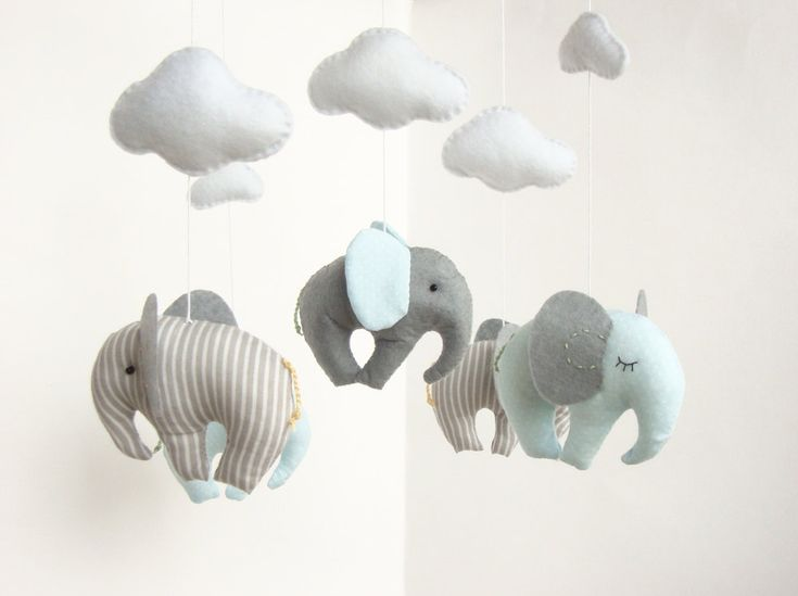 Elephant Baby Mobile Cribe Decor Handmade. £33.00, via Etsy.