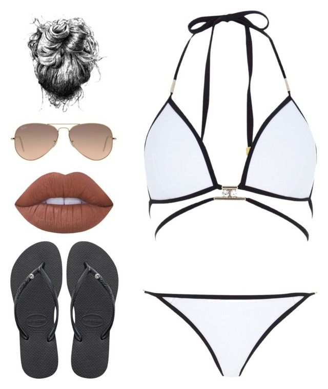 """""""Love summer"""" by giuliarigamonti ❤ liked on Polyvore featuring River Island, Havaianas, Lime Crime and Ray-Ban"""
