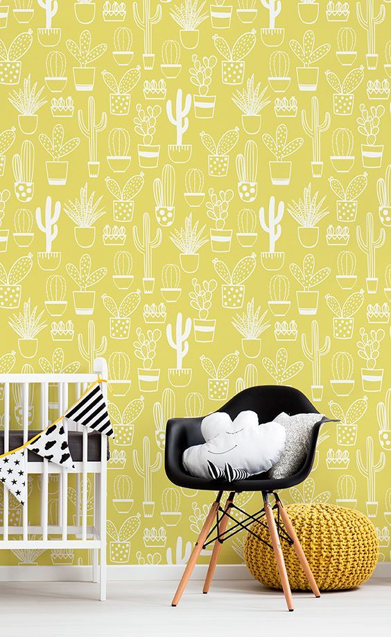 Bring sunshine into your home with this dazzling wallpaper design. Illustrative cacti gather together to give you a truly fun-loving pattern for your walls. It's the perfect wallpaper for gender neutral nurseries and playrooms!