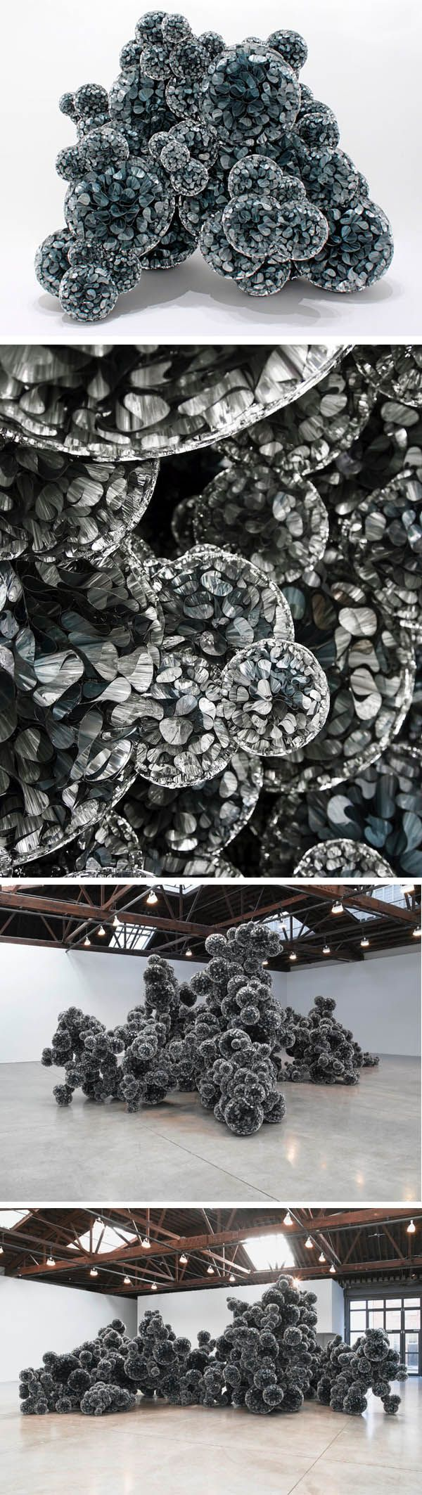 Tara Donovan's amazing installation, Untitled, 2011. Mylar and Hot Glue (amazing!)
