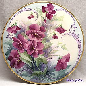 Pink Pansies with Scrolling
