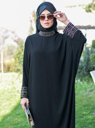 Taşlı siyah moda ferace modelleri 2015