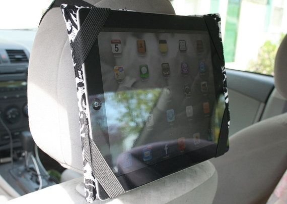ipad mountable case travel cover use with headrest in the car or on a cart
