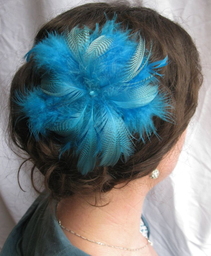 Bright Blue Feather Flower Fascinator With Blue Rhinestone Centre, Clip, Hairpiece, Woman, Girls, Bridal, Hairband, Accessories by PeachesPlumageWorks on Etsy