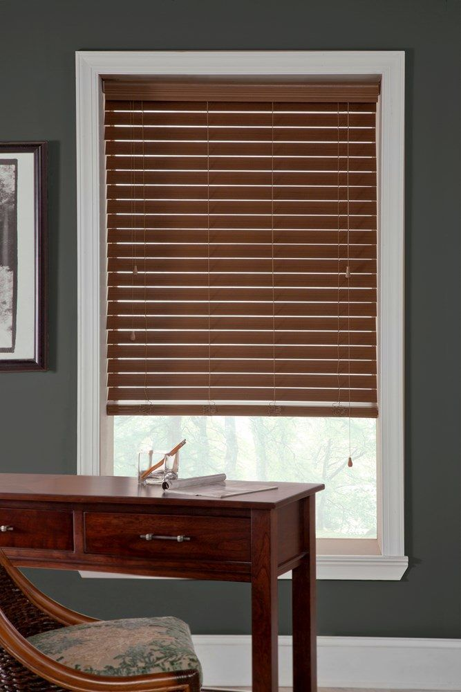 Classic 2 1 2 In Faux Wood Blind Thehomedepot Faux Wood Blinds Wood Blinds Custom Blinds