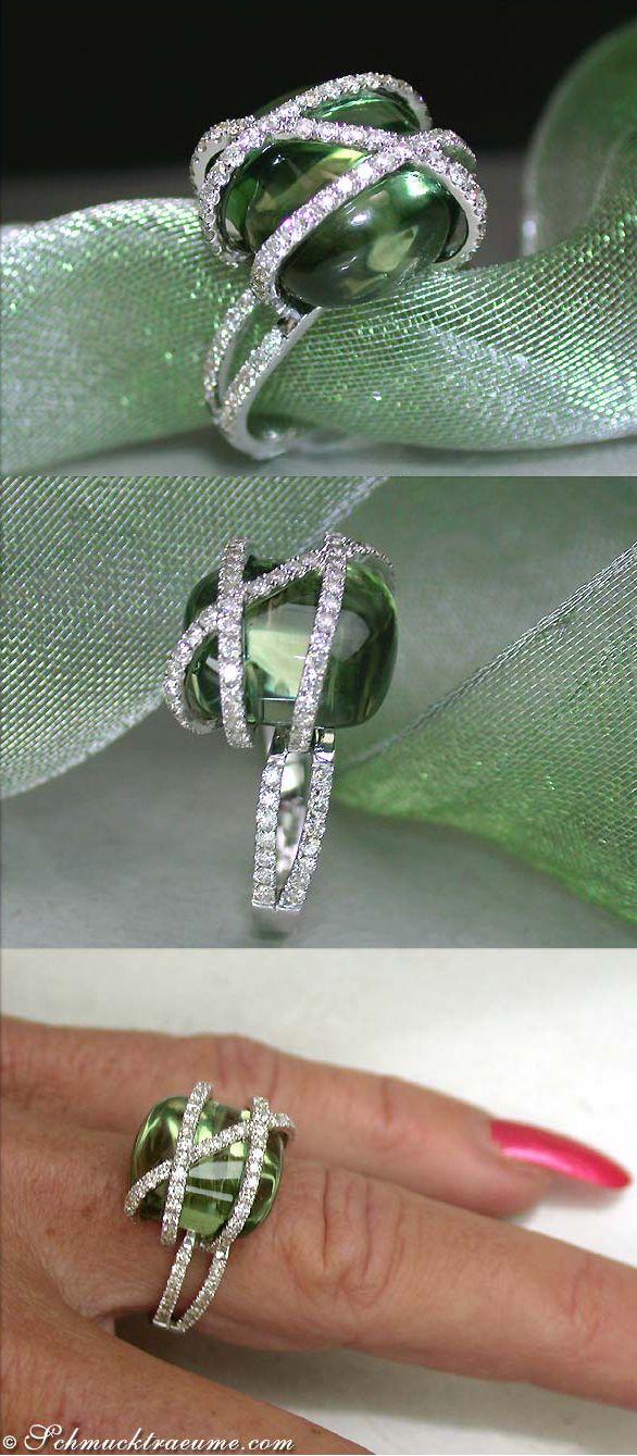 Beautiful Prasiolite / Green Amethyst Diamond Ring, 14,38 cts. WG-14K - Visit: schmucktraeume.com - Like: https://www.facebook.com/pages/Noble-Juwelen/150871984924926 - Contact: info@schmucktraeume.com