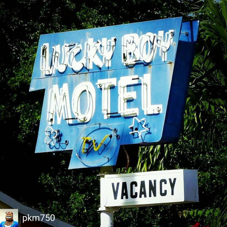 """Credit to @pkm750 : The sign to the """"Lucky Boy Motel"""" in Hollywood Florida. Lucky for the travelers they even have TV.😎 --------------------------------------------------------------------------------------------------------------------- #ipulledoverforthis #discoveramerica #usaroadtrip  #roadsideamerica #roadsideattraction #roadsidepeek  #americana #hollywoodfl #roadtrippin #usroute1 #everything_imaginable #everything_signage #signgeeks #vintagemotel #everything_home_front #signspotting…"""