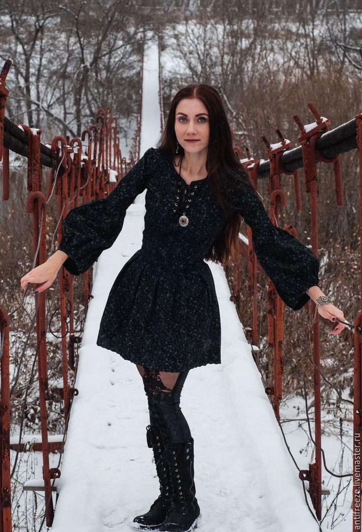 Купить Платье из хлопка с принтом пейсли - черный, пейсли, платье бохо, бохо-стиль
