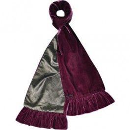 Velvet scarf with satin in plum